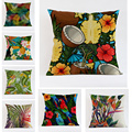 Fashion High Quality Cotton Linen Tropical plant Flowers Bird Grass Decorative Throw Pillows Case Cushion Cover