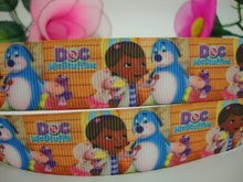 hot 7/8'' custom discounts Free shipping Doc Mcstuffings cartoon dog and girl printed grosgrain ribbon wholesale 22mm 50ys H052(China (Mainland))