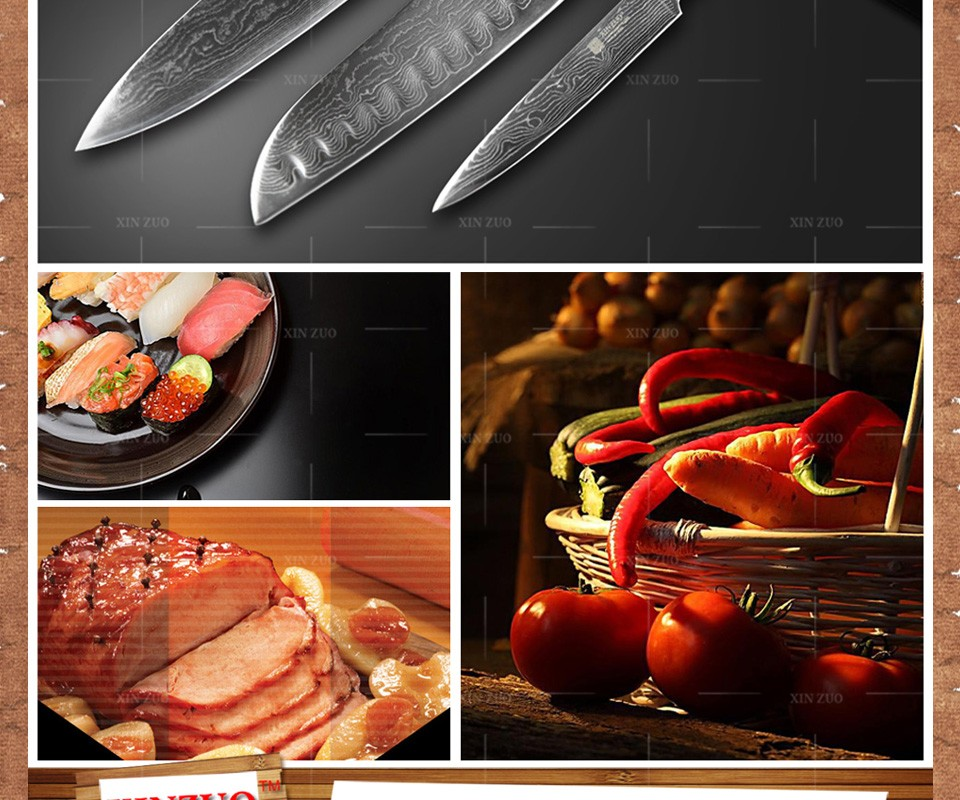 Buy XINZUO 3 PCS kitchen knife set Japanese 73 layers Damascus kitchen knife cleaver paring chef knife wood handle free shipping cheap