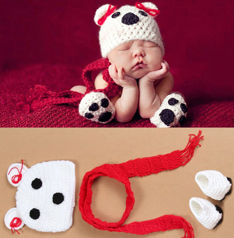 Cute Bear Knitting Crochet Hat Scarf And Shoes Unisex Infant Photo Costumes Bear Newborn Photography Props(China (Mainland))