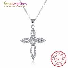 Yunkingdom Крест Ожерелье Свадебные Ювелирные Изделия Элегантные Женщины Стерлингового Серебра 925 Заявление Ожерелья и Кулоны(China (Mainland))