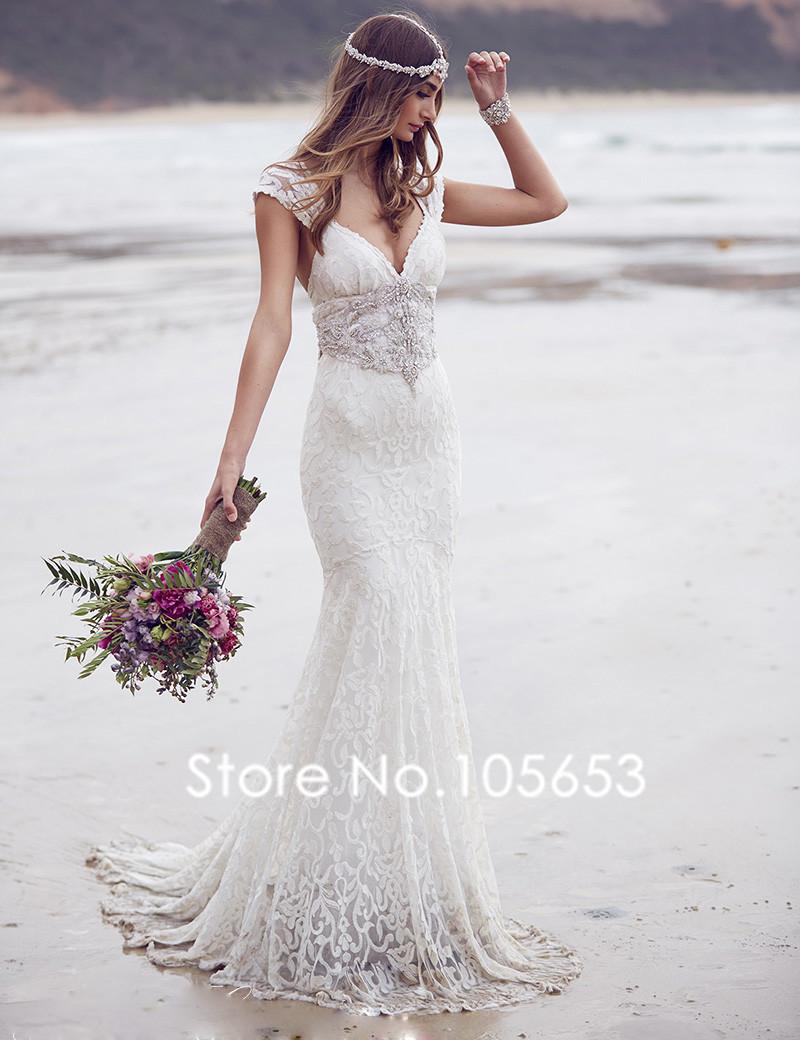 Elegant Mermaid Long Lace Wedding Dress Short Sleeves Beaded Wedding Dress Boho Wedding Dress A370