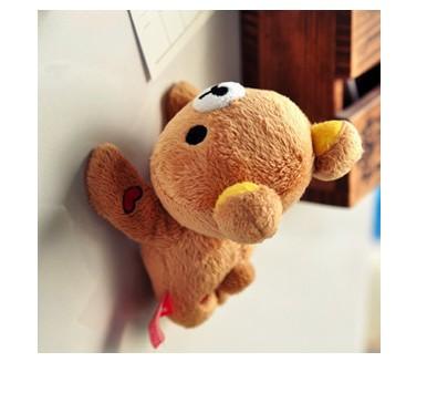 Super cute soft plush lazy bear Rilakkuma fridge magnets toy doll,creative birthday & holiday gifts for girls,1 pc(China (Mainland))