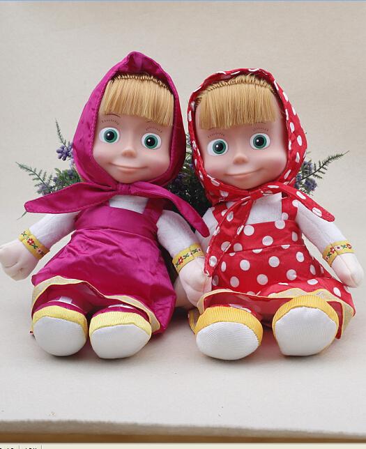 New Arrival Italian Language Musical Masha Action Figure Doll 27cmMasha and Bear Toy Peluche Masha e orso Boneca Gifts For Girls(China (Mainland))