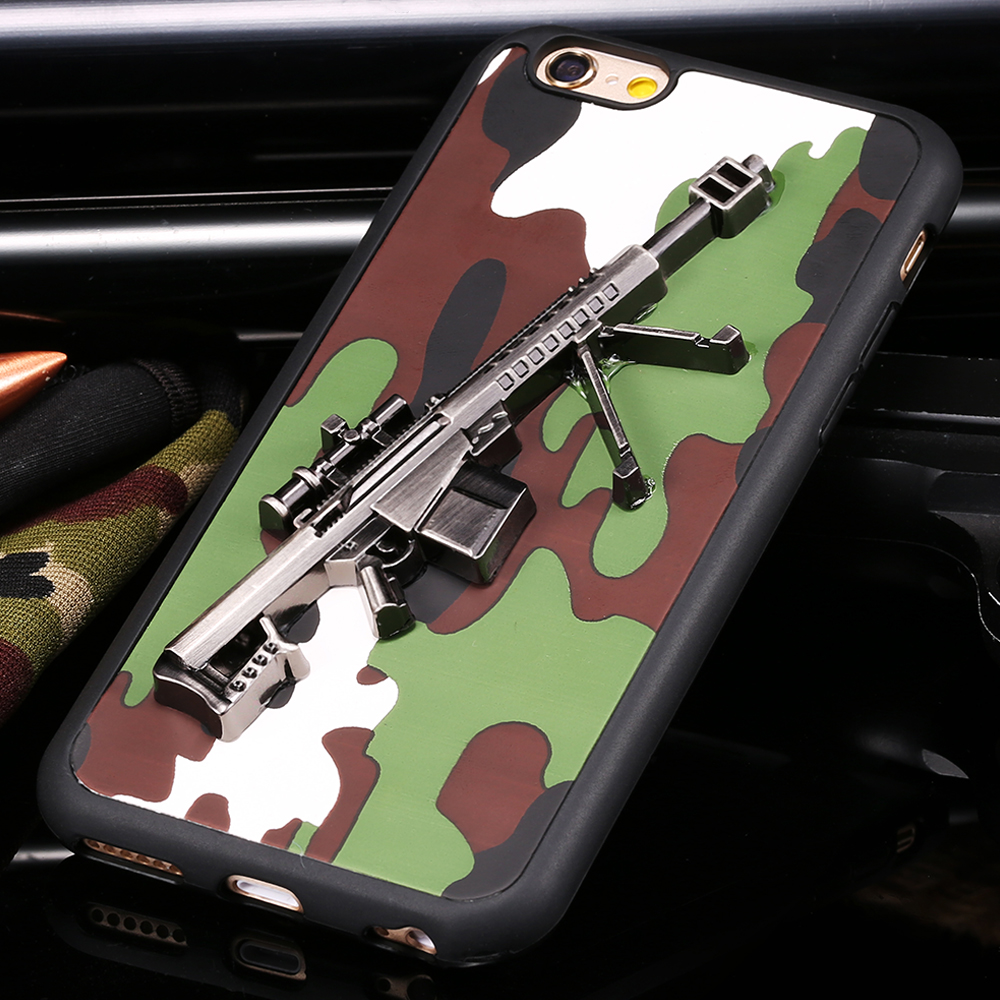 For iPhone 6 6S 4.7/ iPhone6 Plus/ 6S Plus Army Camouflage Cover Dual Layer PU Lether + TPU Soft Phone Case With 3D Metal Gun(China (Mainland))