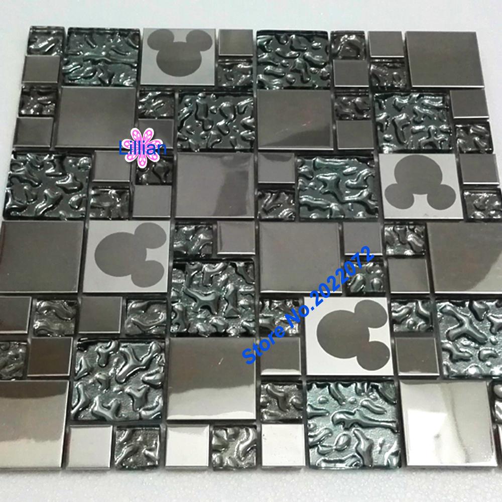 Crystal Metal Glass Mosaic Tiles