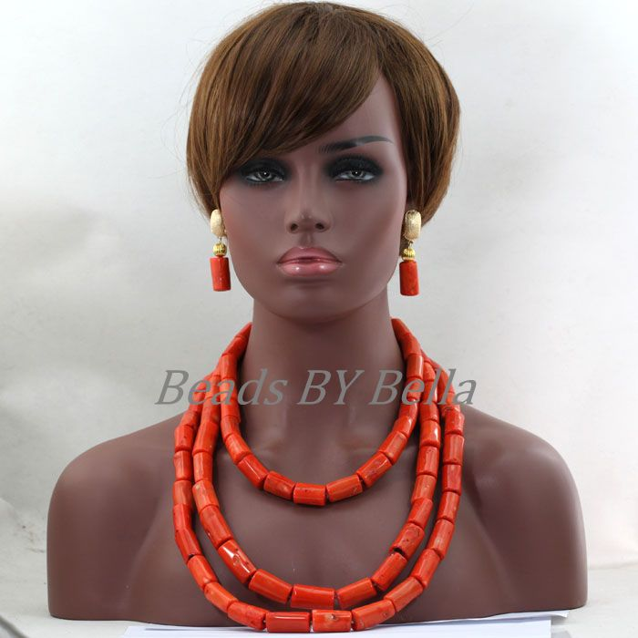 Chunky African Coral Beads Jewelry Set for Women Orange Pink Nigerian Wedding Bridal Necklace Jewellery Set Free Shipping ABL359(China (Mainland))