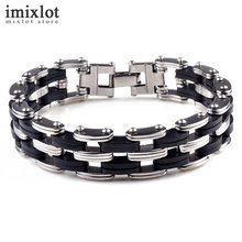 Buy Punk Style Stainless Steel & Silicone Mens Bracelet Link Chain Biker Bicycle Bracelets Pulseira Masculina Men Jewelry for $2.23 in AliExpress store