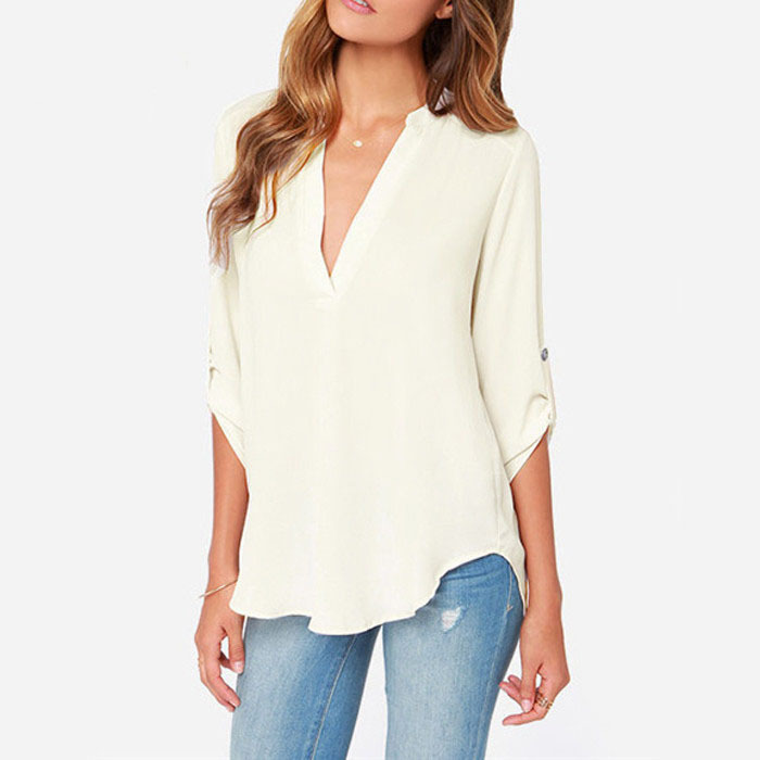 Women polyester summer blouse white sexy v neck casual for Beach shirt cover up