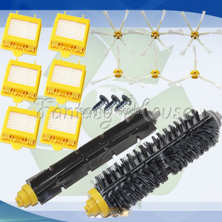 6x HEPA Filter + Side Brush Kit + 1 Bristle and Flexible Beater Brush for iRobot Roomba 700 Series 770 780 790 Cleaer Accessory(China (Mainland))