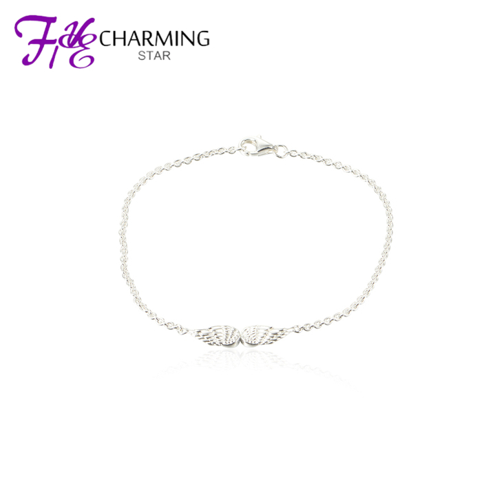 New Design Angel Wings Woman Silvers Braclet Charms Diy 925 Sterling Silver Jewelry Wholesale Braclets Br002-19