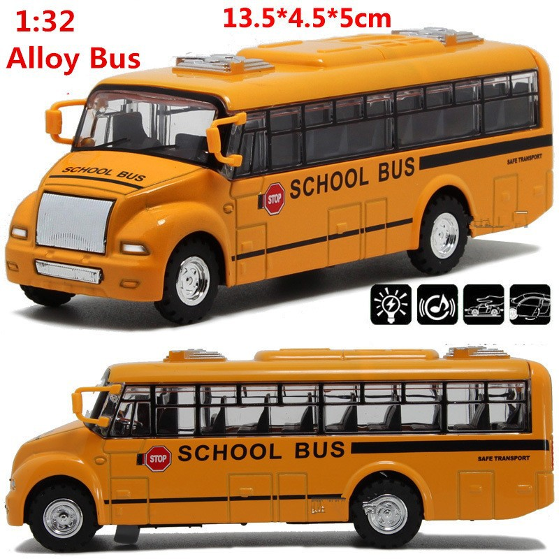 Kids Toys Diecast Bus Cars Toy 1:32 Scale Alloy Pull Back School Bus Model,children's Gift()