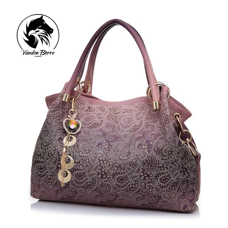 Brand New designer handbag female PU leather hollow out bags handbags color gradient tassel bag ladies portable shoulder bag(China (Mainland))