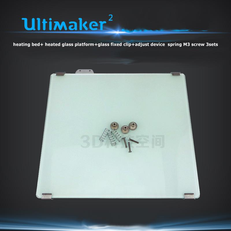 Фотография Ultimaker2+ um2+ heating bed+ heated glass platform+glass fixed clip+adjust device  spring M3 screw 3sets