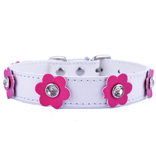Personalized Rhinestone Collar Flowers Pu Leather Dog Collar Crystal Studded Necklace For Dogs Adjustable Pet Products
