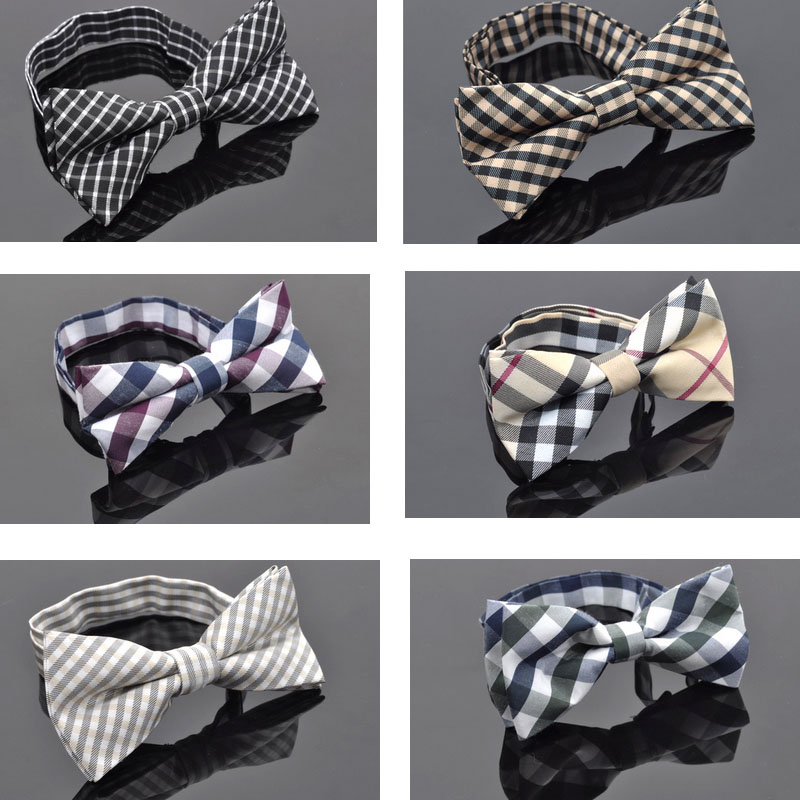 NEW Men Classic plaid Bow ties Fashion Neckwear Adjustable Mens Tuxedo Bow Tie Polyester for wedding 2014 Male neck ties(China (Mainland))