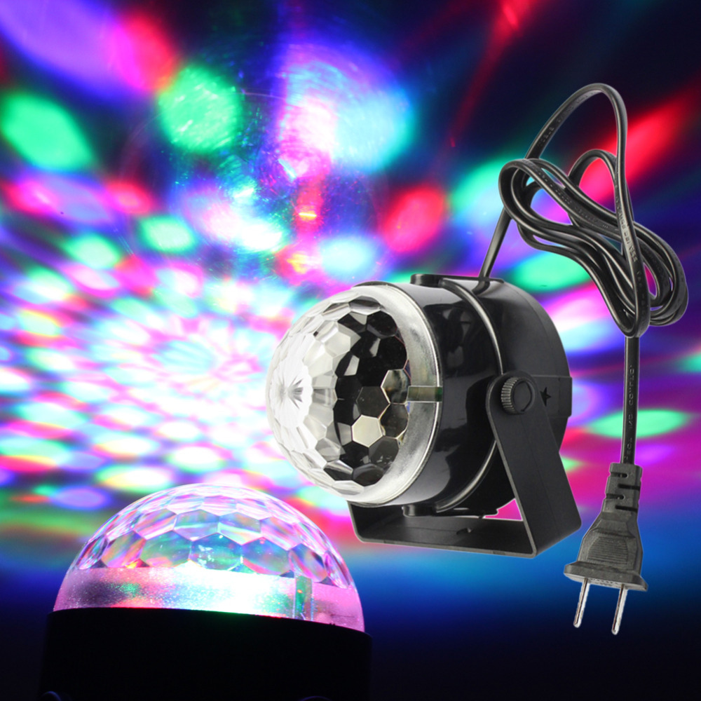 MIYOLE Full Color Changing RGB Crystal Magic Rotating Ball Effect Led Stage Lights 3W for KTV Party Wedding Show Club Pub Disco(China (Mainland))