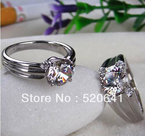 wholesale 3 CT couple rings sona synthetic diamond sterling silver 925 his an