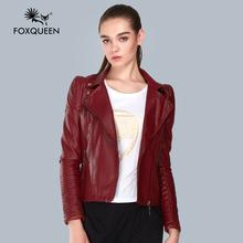 Foxqueen 2016 Осень-Весна Дамы Clothing Кожаные Куртки Женщины Красный Плюс Размер 5XL Продажа Искусственные Мягкие Кожаные Куртки(China (Mainland))