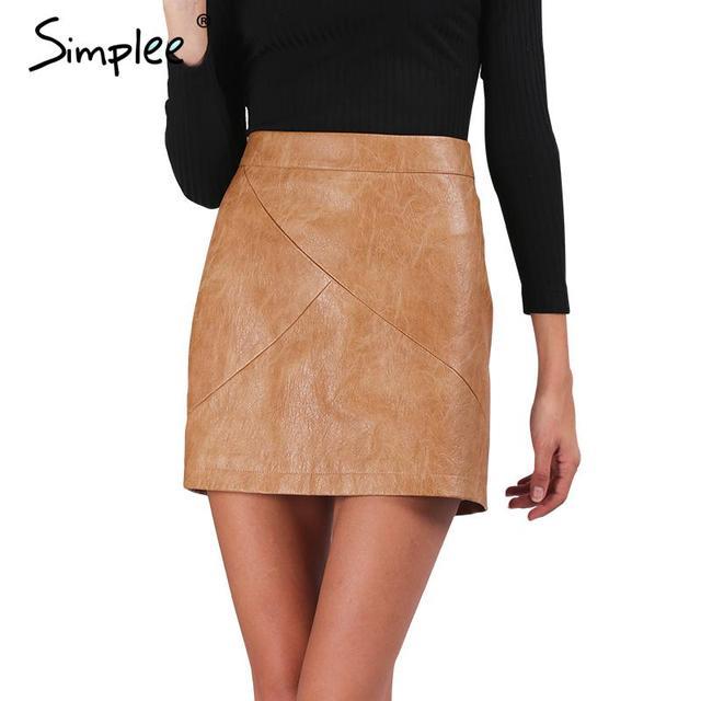 Simplee Зима высокая талия классический искусственной кожи юбка Chic тонкий bodycon карандаш юбки Повседневная осень черный короткой юбке