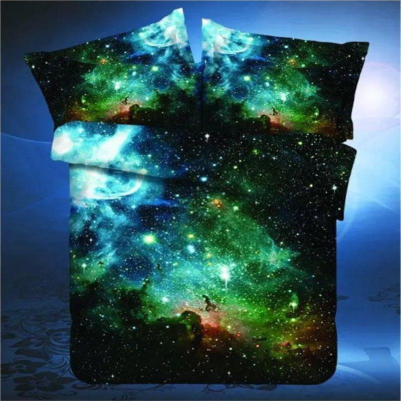 2016 new 3d hipster galaxy bedding set universe outer for Outer space bedding