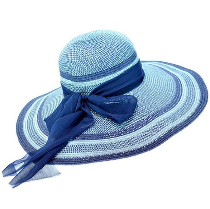 2016 New Fashion Summer Blue Big Chiffon Bow Wide Large Brim Floppy Beach Hat Sun Cap(China (Mainland))