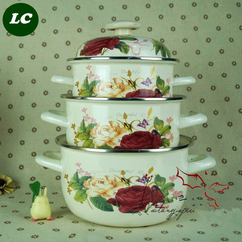 free shipping casserole pots set 2-5litre kitchen utensil 20/22/24cm cooking tools enamel pots(China (Mainland))