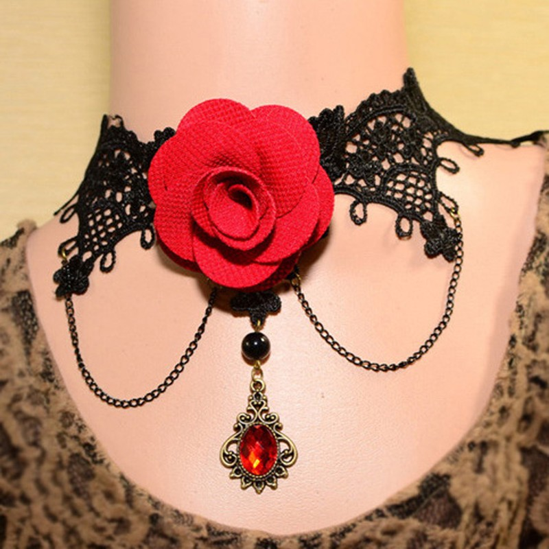 Gothic Red rose flower women's Pendant & choker necklace modern costume jewelry Vintage Vampire Lace jewelry(China (Mainland))