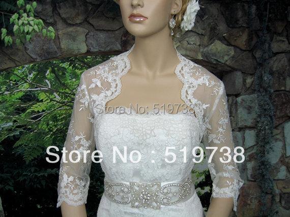 Bolero Women White Lace Wedding Shawls Wraps Bridal Cape 3/4 Long Sleeve Jackets - bridalworld store