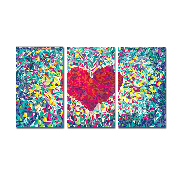 FREE SHIPPING Loving Heart Picture Canvas Art on the Wall for 3 Panel Canvas Art Oil Painting(Unframed)40x60cmx3pcs(China (Mainland))