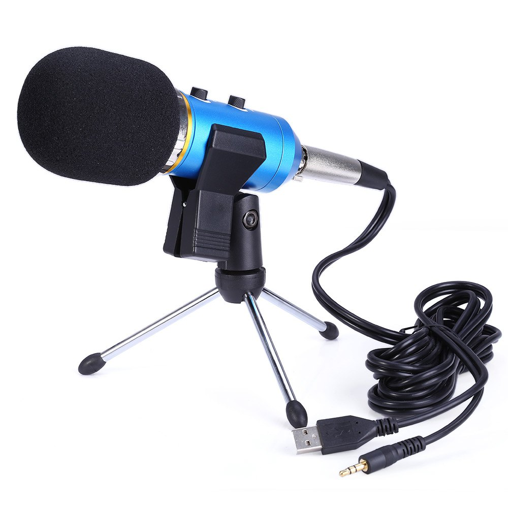 MK - F200FL 3.5mm Audio Wired Studio Sound Condenser Microphone for Video Recording with Shock Mount Holder Clip(China (Mainland))