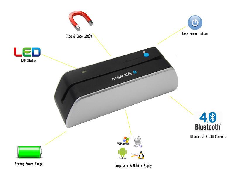The World First Wireless Manual Smallest Magnetic Card Reader Writer Encoder MSRX6 Bluetooth MSR206 MSR605 MSR606 MSR609 msr x6(China (Mainland))