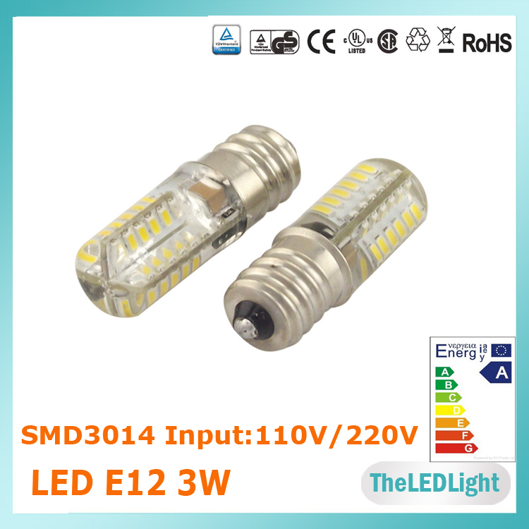 5PCS Free Shipping Mini Size E12 Light Bulb 110V/220V, High Brightness 3014 SMD LED Chips E12 LED Bulb(China (Mainland))