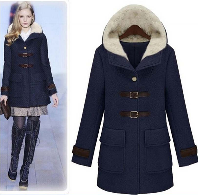 Womens Navy Wool Coat - JacketIn