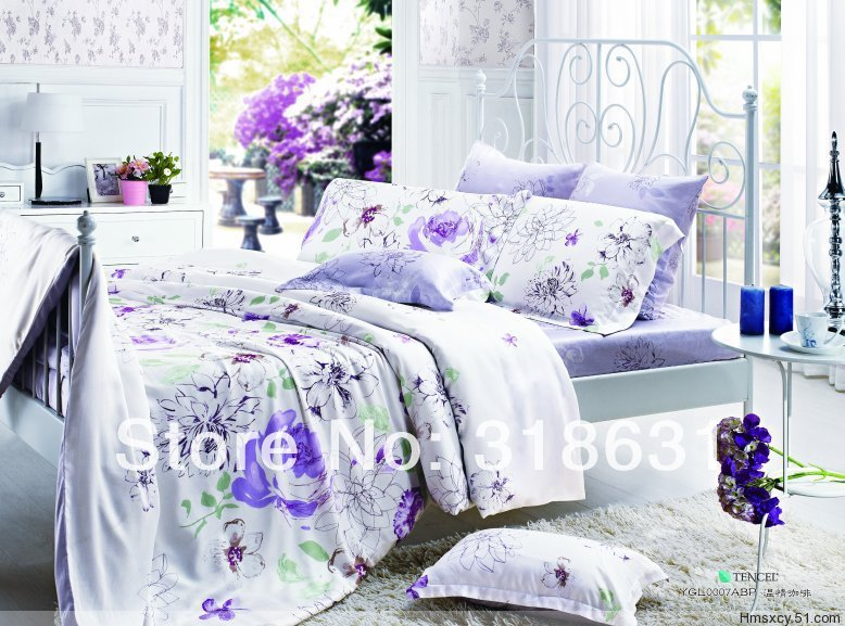 4 or 5pcs Double Bed Full Queen Size Good Quaity 60S Soft Tencel Bedding Set Fabric Duvet Cover Set Comforter Sets with Sheet(China (Mainland))