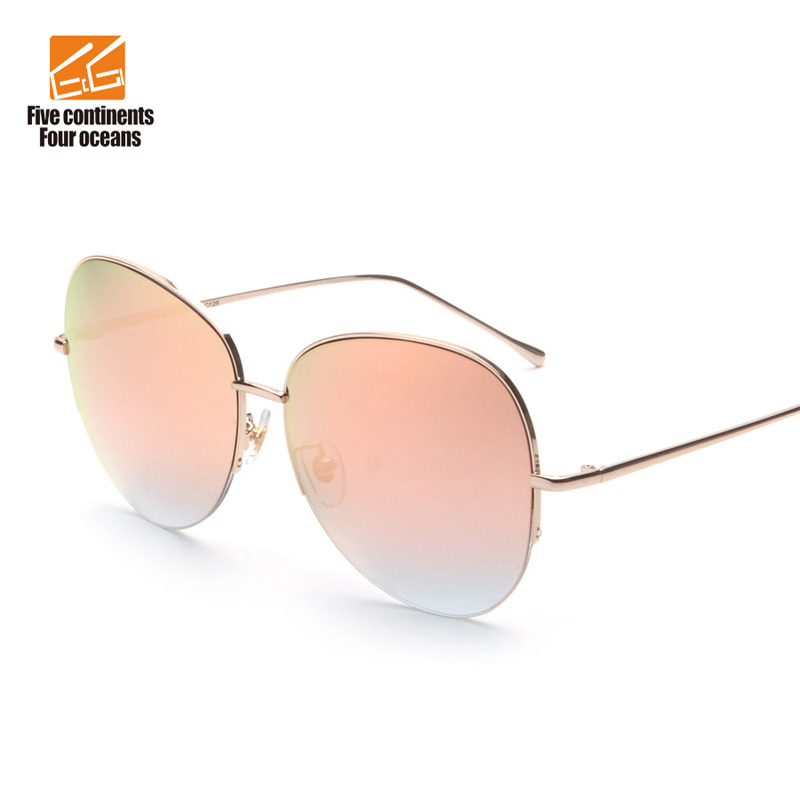 Rimless Glasses Trend : 2016 Newest UV400 Vintage Metal Women Oversize Sunglasses ...