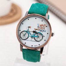 2016 Fashion Women Girls Kids Bike Watches Casual Vintage Leather Wristwatches Bicycle Pattern Quartz Cartoon Watch gifts Clock