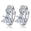 New Arrivals 2016 Fashion Angel Design 925 Sterling silver Stud Earrings Luxury Double Crystal Earring For