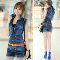 one Pieces Korea lady loose ripped denim overalls casual denim shorts pants suspenders Jumpsuits Rompers women