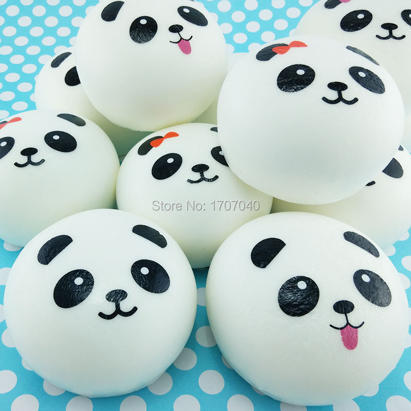 Squishy Jumbo Panda 10 Cm : 20PCS 10CM Jumbo White Panda Squishy Phone Straps Soft Buns Bread Key Chains Wholesale-in Mobile ...