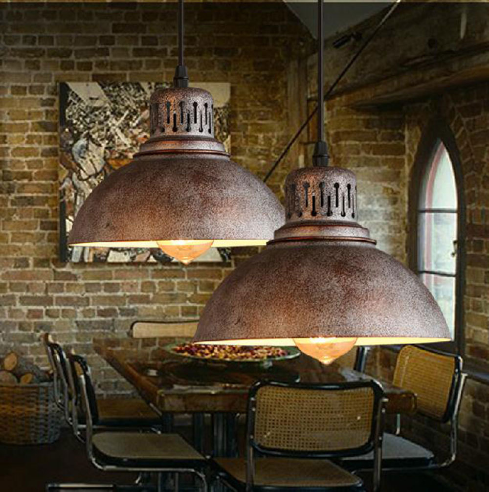 Ac100 240v d23cm rustic metal lampshade e27 pendant light for Modern antique decor