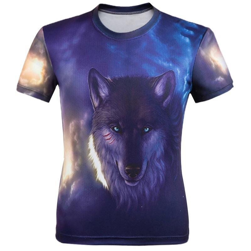New Summer Hip Hop Brand Clothing Wolf 3D T-Shirt Print Fashion Animal Short Sleeves Men Breathable Colorful T Shirt MT1(China (Mainland))