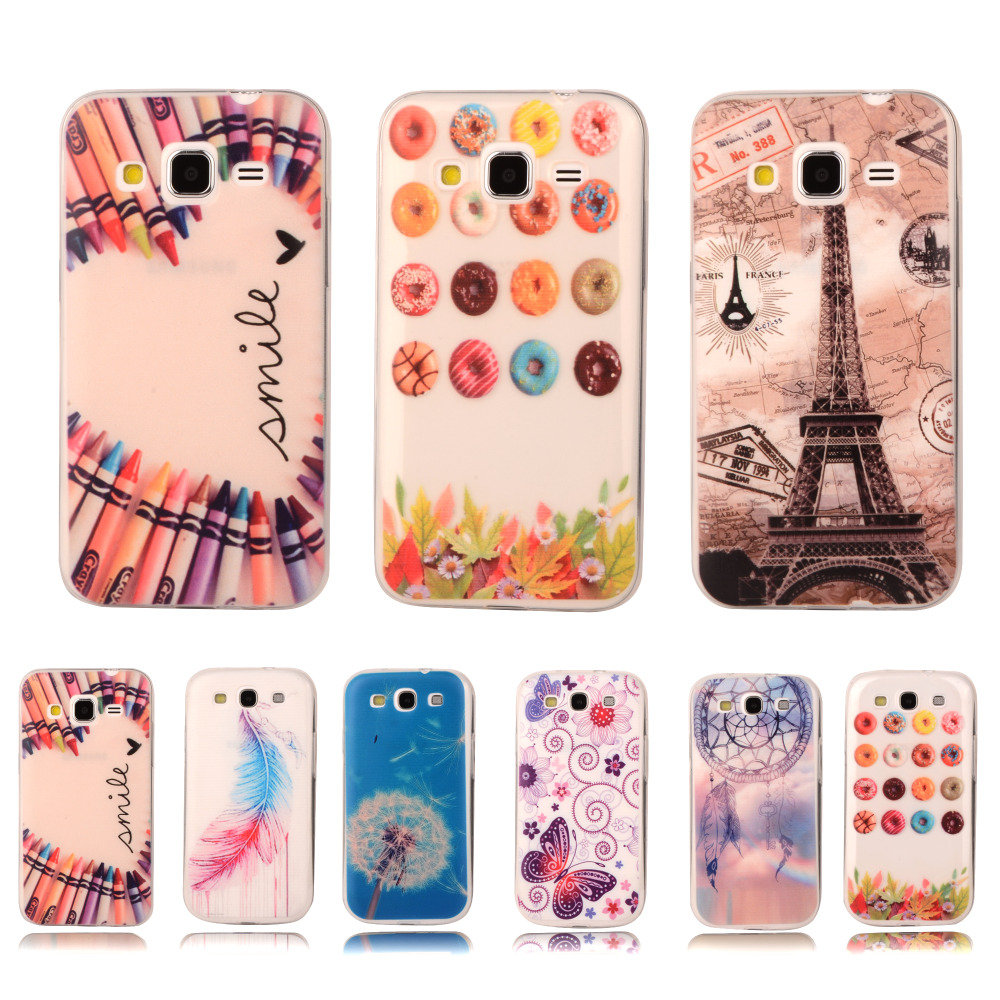 Colorful Crystal Phone Case For Samsung Galaxy Core Prime G360 G360H G3606 G3608 G3609 Transparent Gel Plastic Protective Cover(China (Mainland))