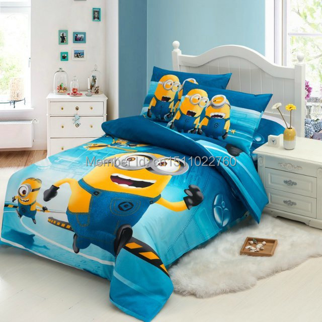 hot new arrival blue minions cartoon children kids bedding. Black Bedroom Furniture Sets. Home Design Ideas
