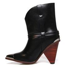 WETKISS Yılan Cilt yarım çizmeler Kadınlar Spike Topuklar Yüksek Ahşap Çizmeler Femme Batı Deri Metal Sivri Burun Ayakkabı 2019 Yeni Sonbahar(China)