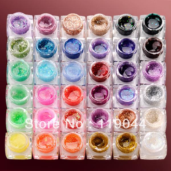 Free Shipping 5ml 36PSC/Set Nail Color Glitter UV Gel Set Sparkling UV Gel For Decoration Nail Art NA429(China (Mainland))