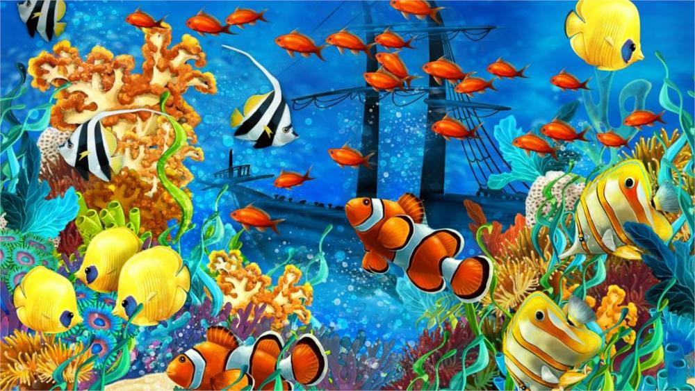 Animal shipwreck sea seabed fish corals underwater ocean tropical 4' Size Home Decoration Canvas Poster Print(China (Mainland))