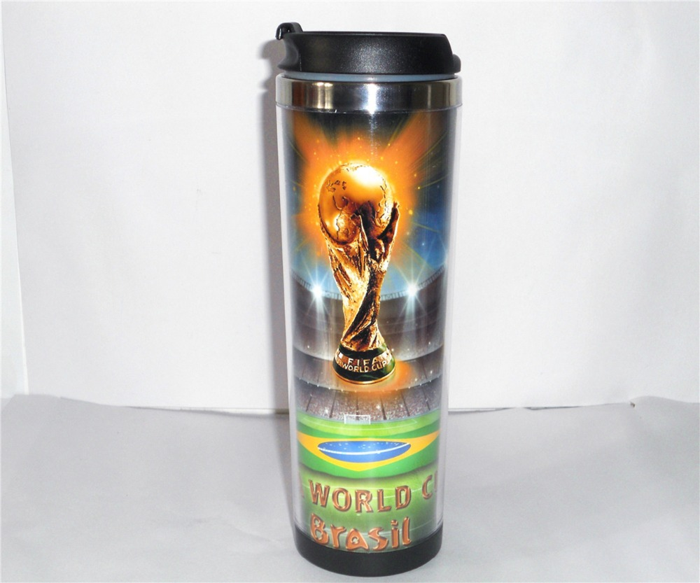 New DIY Creative Coffee Cup Football World Cup Water Cup Travel Cup Stainless Steel 18 CM 14 OZ Best Gift Free Shipping(China (Mainland))