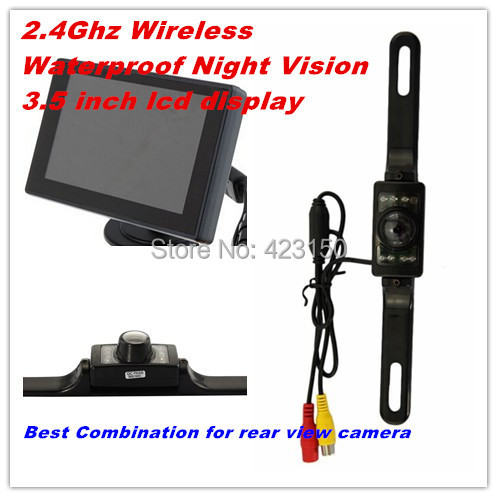 Free shipping 2.4G Wireless waterproof Car Reverse Rear View Parking Camera plus  3.5 inch LCD display