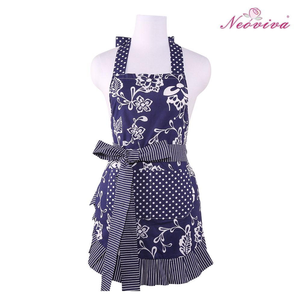 FreeShipping Top Selling 100% Cotton NEOVIVA Sassy Navy Blue Women's Apron with Pocket and Long Thick Double Layer Tie(China (Mainland))
